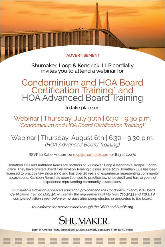 HOA Board Cert. and Advanced Board Cert. July and August 2020